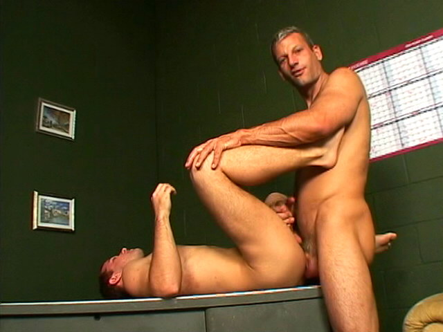 Admirable brunette gay Corbin getting anally humped on the table
