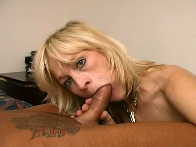 Adorable blonde granny Kari sucking a monster cock with lust