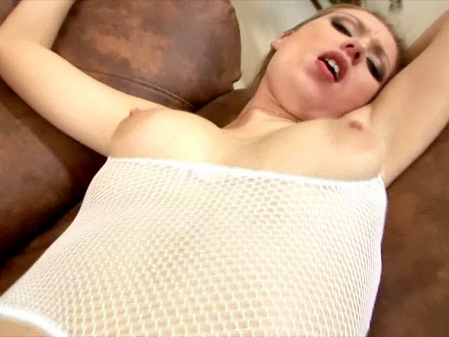 Amazing blonde Russian babe in fishnets Polly getting shaved pussy fingered and fisted