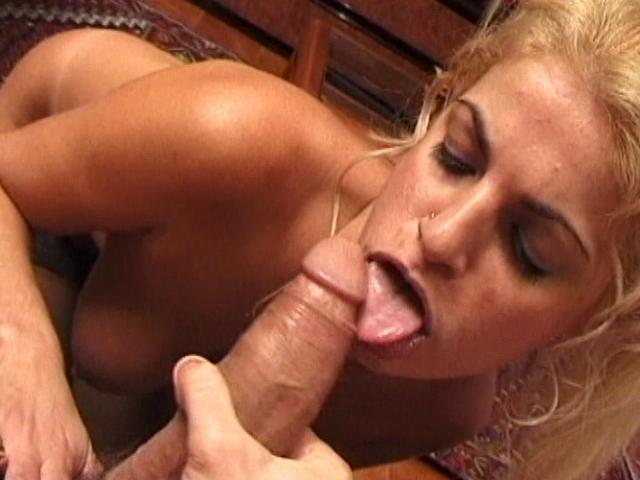 Amazing blondie wife licking and sucking a big pecker on the couch