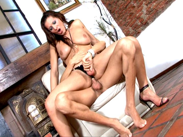 Amazing chesty brunette tranny whore Triany getting anally screwed by a tattooed bald stud