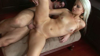 Amazing pierced blond pornstar Barbie Addison gets pussy slammed from behind