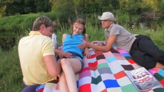 Amazing virgin gets deflowered during picnic