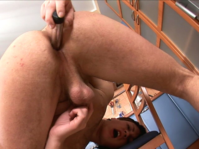 Amazingly brunette twink masturbating his tight asshole with a big dildo