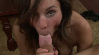 Amber Rayne puts whole cock in her mouth and sucks it