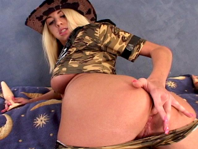 Angelic blonde army bitch Britney Madison gets sexy butt licked and fucked