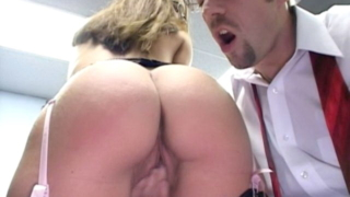 Appealing secretary with bubble ass Jordana James gets nailed from behind on the desk
