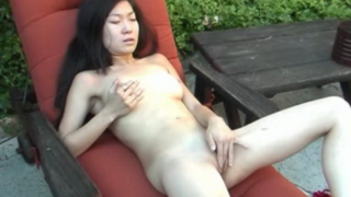 Asian amateur hottie Leandra Lee stripping red undies and rubbing trimmed pussy outdoors