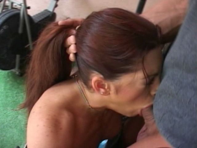 Auburn haired milf Aria getting throat fucked and swallowing hot seed in the gym