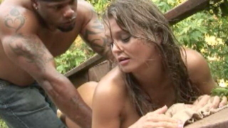 Awesome amateur whore Rita Faltoyano gets pink asshole black fucked outdoors