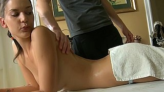 Babe fucked on a massage table