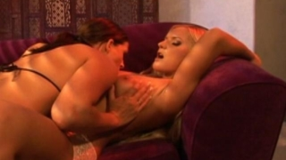 Barbara Summer and Crissy Cums lube their big sex toys and fuck each other