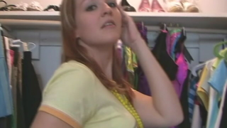 Beautiful amateur teenage honey Heidi teasing us with her mini black skirt in the closet