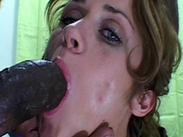 Beguiling brunette whore with hairy beaver Heather gets mouth fucked by a huge black dick