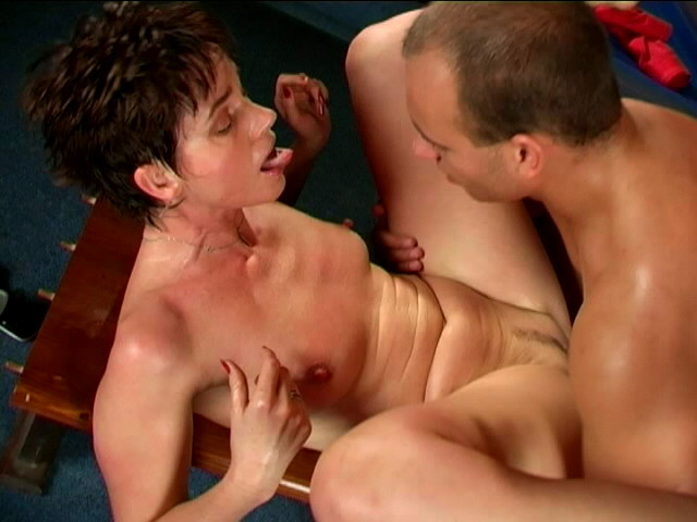 Big assed brunette granny Marketa riding a giant dong and giving blowjob Is That Grandma XXX Porn Tube Video Image