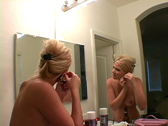 Big boobed blonde teen Jessie posing naked for you in the mirror