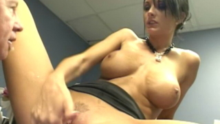 Big jugged secretary Alektra Blue gives handjob and blowjob in the office