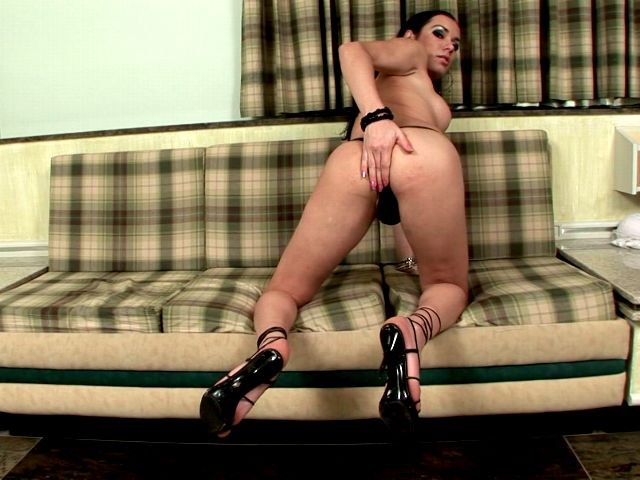 Big jugged tranny whore in high heels Kalena Kaio touching her sexy body with lust