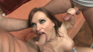Big meloned bitch Katja Kassin sucking two massive wangs with lust