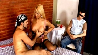 Big meloned blonde tranny Samantha jerks and slurps a monster penis