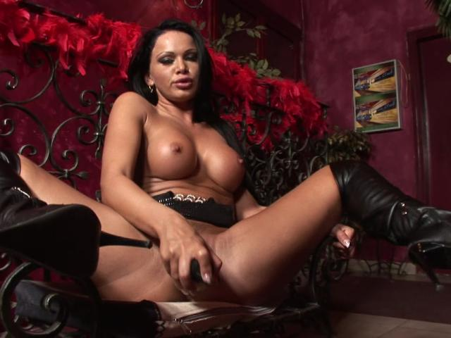 Big meloned brunette babe dildoing her fuckable cunt Erotic Cinema XXX Porn Tube Video Image