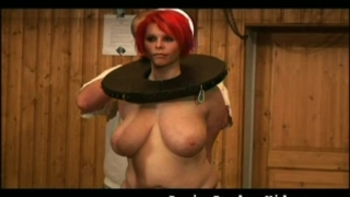 big, natural tits, red wig