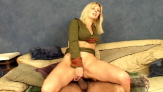 Big titted blonde army slut Celestia Star riding anally a huge phallus on the couch