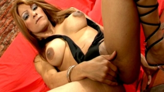 Big titted tranny Morena fingering her tight butthole hard