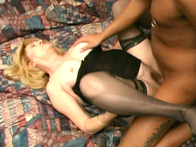 Blond granny in stockings Kitty Fox gets hairy cunt fucked by a horny black stud Is That Grandma XXX Porn Tube Video Image