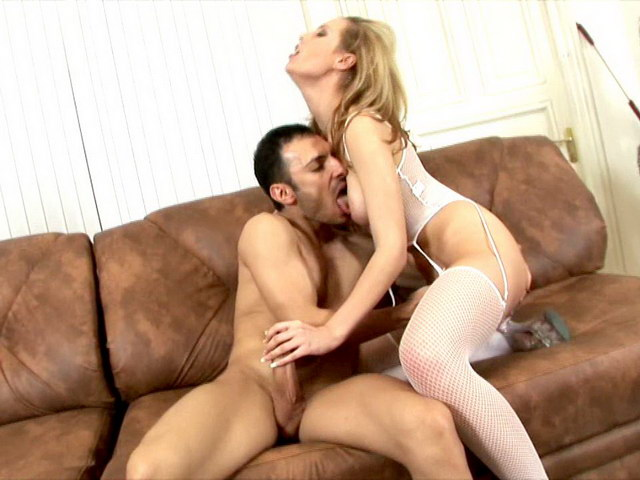 Blond Russian whore in fishnets Polly gets tits licked and gives handjob