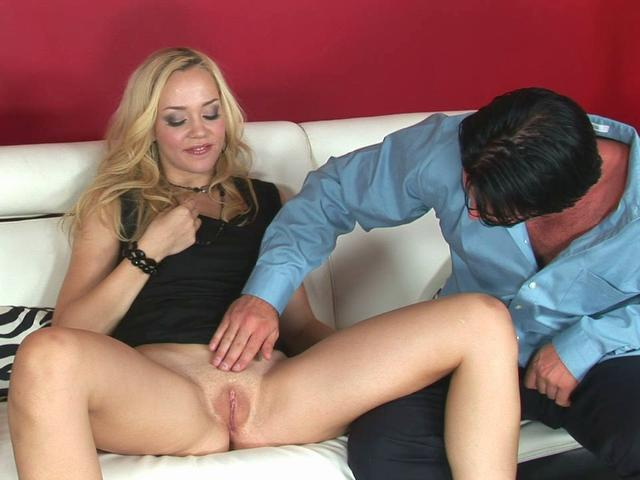 Blonde Annette Schwarz gets her pink hole examined