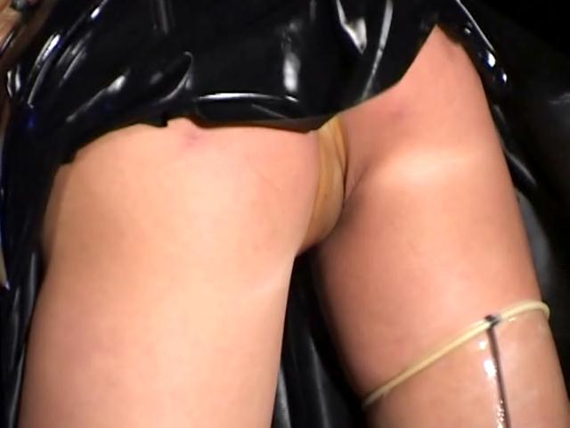 Blonde mistress in latex gloves and stockings Herrmann fucking  shaved muff with a  large toy