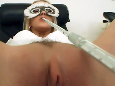Blonde Nurse Spread Legged On the Table
