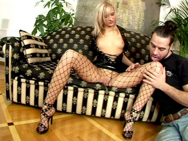 Blonde Russian temptress in latex dress and fishnets Belinda gets wet beaver licked on the couch Erotic Russians XXX Porn Tube Video Image