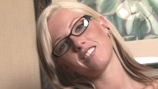 Blonde teen in glasses Tricia practicing handjob on camera