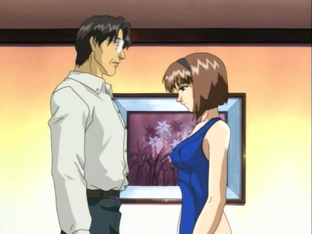 Brown haired anime chick getting tits and cunny teased by a mature dude