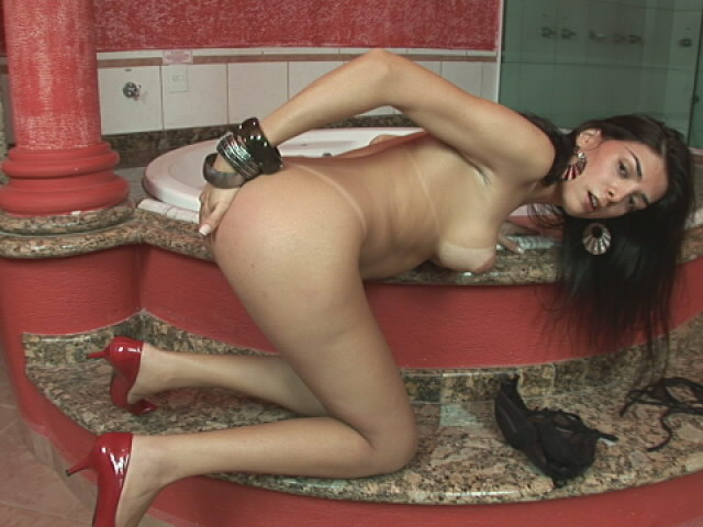 Brunette busty shemale Luciamara Santos getting naughty on the bathroom floor