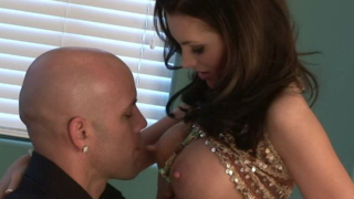 Brunette mature seductress Brandie getting big knockers sucked by a bald stud