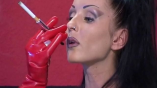 Brunette mistress in latex clothes Vaneckova Zadlo smoking