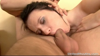 Brunette rosebud sucks with the deepest throat ever.