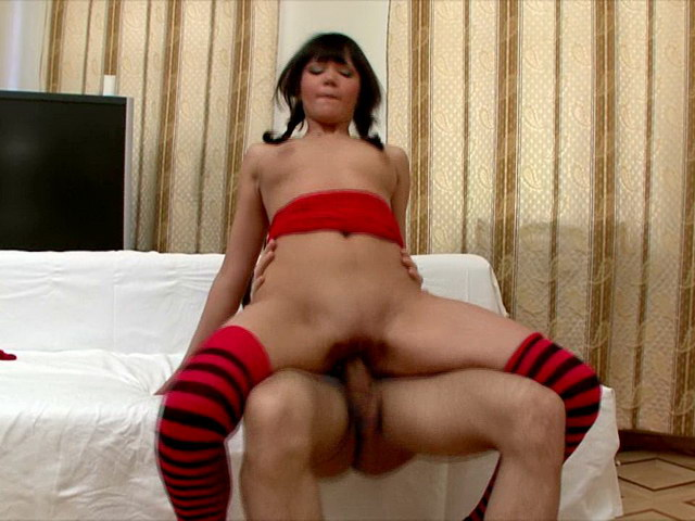 Brunette Russian charmer in pigtails Nessy riding a monster cock hard