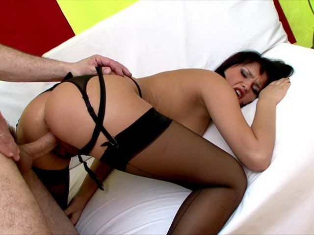 Brunette Russian temptress in pantyhose Luysan getting tight cunt screwed by a huge dick