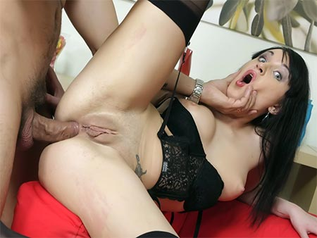 Brunette slut anal fucked