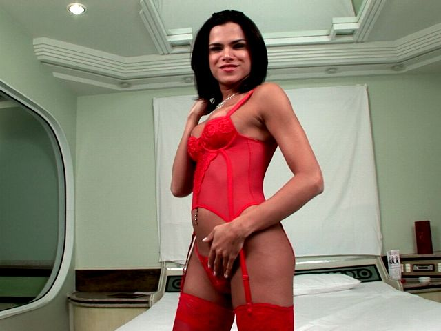 Brunette tranny girl in red lingerie Hilda teasing us with her sexy red lingerie on camera