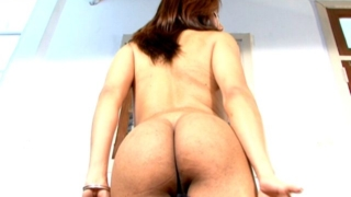 Brunette tranny girl in sexy panties Selia showing booty and sexy big melons