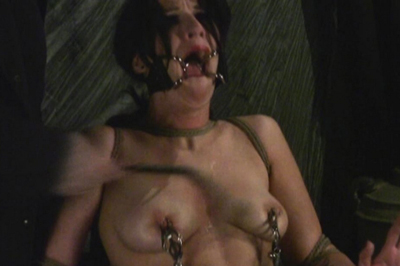Brunette with a spider gag BDSM Tryouts XXX Porn Tube Video Image