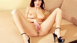 Brunette with Big Tits Masturbating