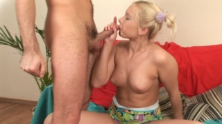 Busty Blonde Cheerleader Experiences First Orgasm
