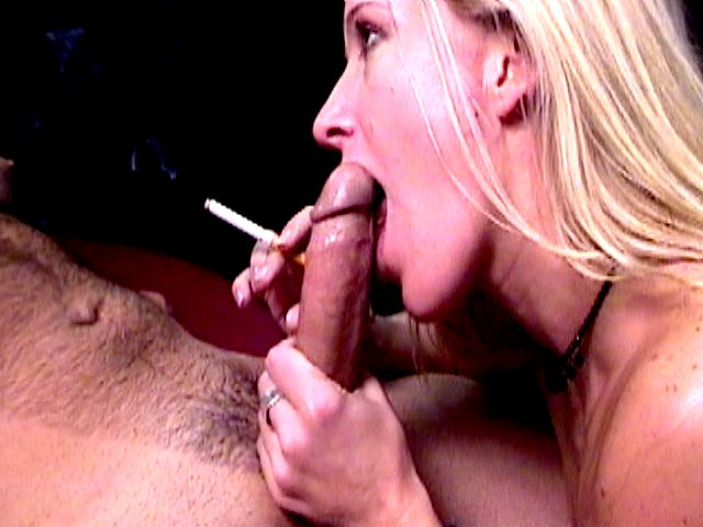 Busty blonde harlot  Dia Zerva smoking and sucking a monster penis with lust