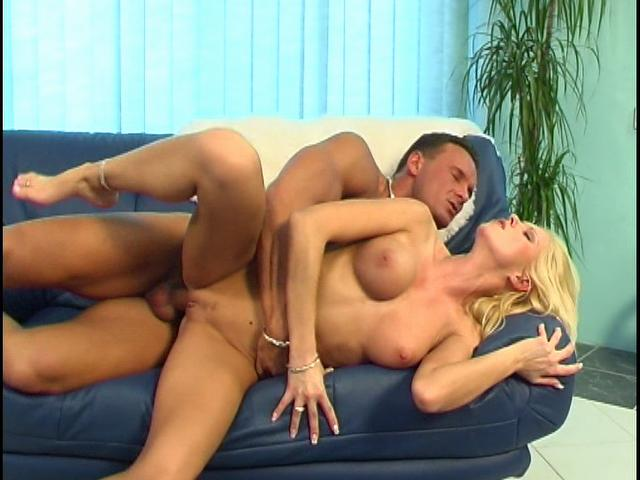 Busty blonde honey getting skinny twat fucked from behind